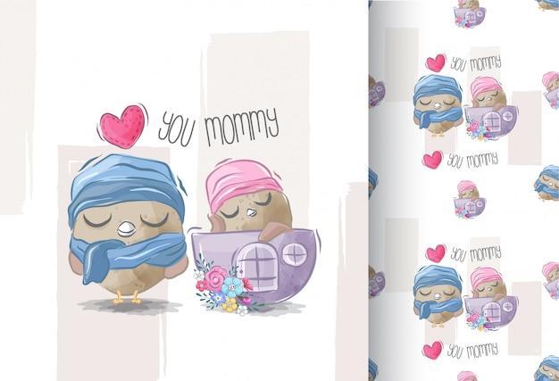 Gufo e mamma svegli del bambino con il modello senza cuciture
