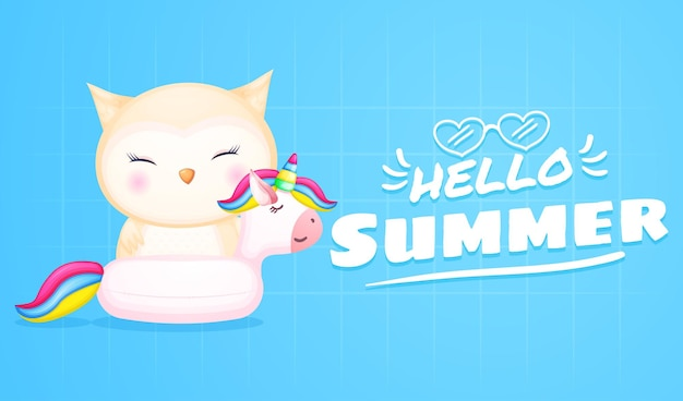 Simpatico gufo sulla boa di unicorno con banner di saluto estivo summer
