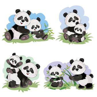 Orso di panda del bambino sveglio e sua madre che giocano sull'erba