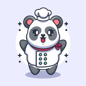 Fumetto del cuoco unico sveglio del panda del bambino