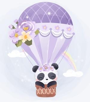 Panda del bambino sveglio che vola con l'aerostato di aria
