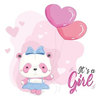 Cute baby panda girl