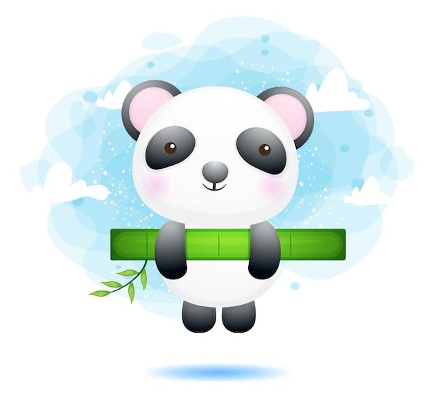 Panda sveglio del bambino che appende sul bambù