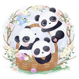 Illustrazione sveglia del panda del bambino che giocano insieme