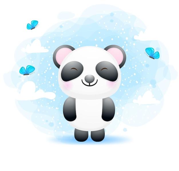 Panda sveglio del bambino che gioca con la farfalla
