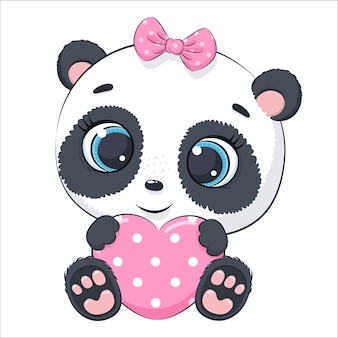 Simpatico panda con un cuore. fumetto illustrazione vettoriale.