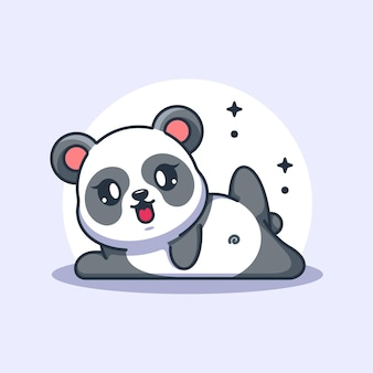 Fumetto sveglio di posa di yoga del panda del bambino