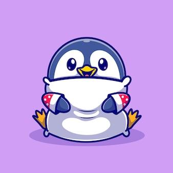 Cute baby pinguino abbraccio cuscino fumetto icona vettore illustrazione. concetto di icona natura animale isolato vettore premium. stile cartone animato piatto