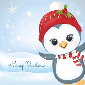 Illustrazione dell'acquerello disegnato a mano sveglio del pinguino e del fiocco di neve del bambino