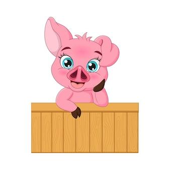 Simpatico cartone animato di maiale rosa baby dietro un cancello di legno e sorridente su sfondo bianco