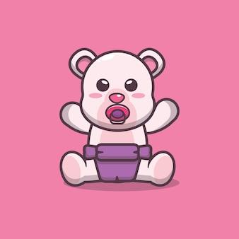 Carino, bambino, orso polare, cartone animato, vettore, illustrazione