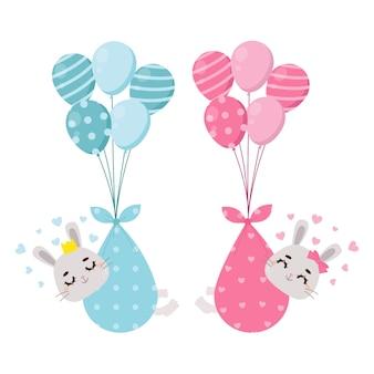 Simpatico coniglietto che viene consegnato tramite palloncini il genere del bambino rivela un ragazzo o una ragazza design piatto vettoriale del fumetto