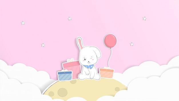 Progettazione sveglia di arte del fumetto e della carta dell'illustrazione pastello del coniglio del bambino