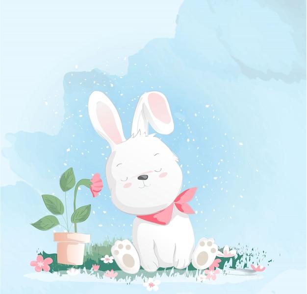 Stile acquerello coniglio bambino carino