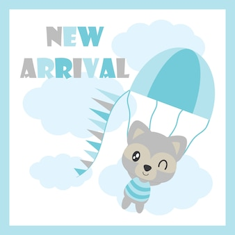 Il procione sveglio del bambino vola con l'illustrazione del fumetto di vettore dell'aerostato di aria per il disegno della carta, la cartolina e la carta da parati dell'orso dell'orso del bambino