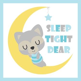 Ragazzo sveglio di nozze dorme sulla illustrazione cartoon vettore della luna per la scheda di baby doccia design, cartolina e carta da parati
