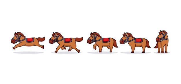 Mascotte di logo di cavallo da corsa carino bambino