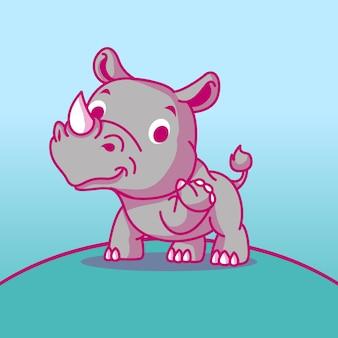 Simpatico cartone animato di rinoceronte per bambini