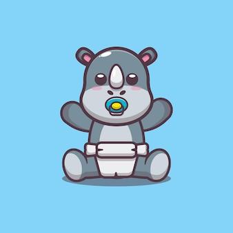 Carino, rinoceronte, cartone animato, vettore, illustrazione