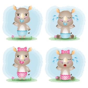Simpatica collezione di rinoceronti in stile bambini