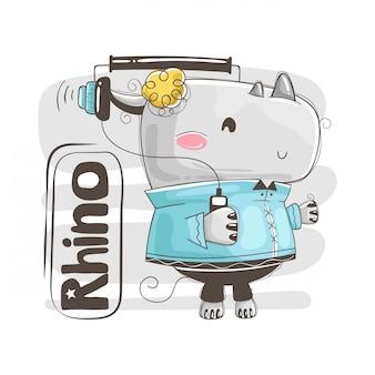 Simpatico rinoceronte bambino sta ascoltando musica. illustrazione per la carta dell'acquazzone di bambino e la maglietta del bambino,