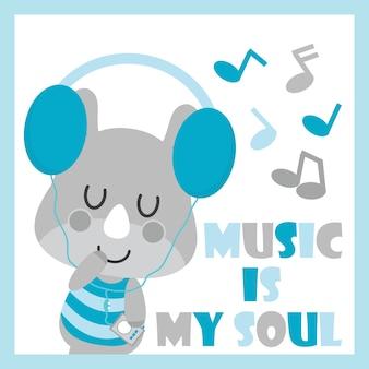 Il rinoceronte sveglio del bambino sta ascoltando l'illustrazione del fumetto di vettore di musica per il disegno della carta dell'acquazzone del bambino, la maglietta del capretto e la carta da parati