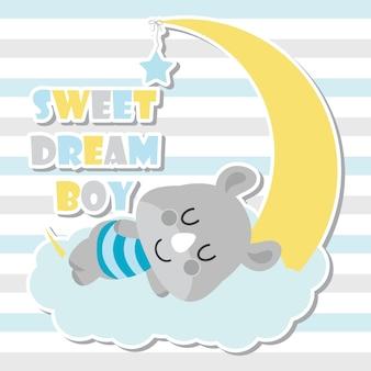 Illustrazione cartoon sveglia del fumetto del bambino del rhino per il disegno della carta dell'acquazzone del bambino, disegno della maglietta del capretto e carta da parati Vettore Premium