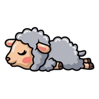 Simpatico cartone animato di pecora che dorme