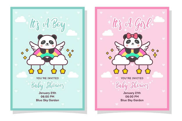 Carta di invito bambino carino doccia ragazzo e ragazza con panda, nuvole, arcobaleno e stelle