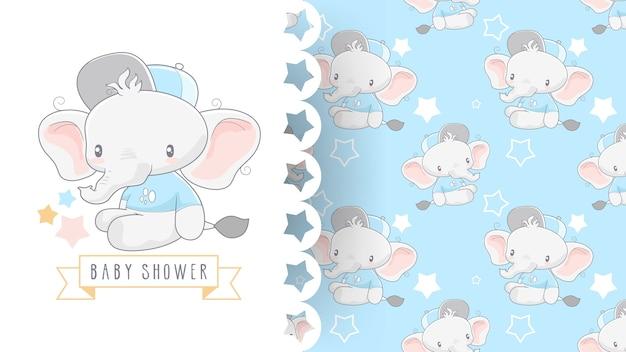 Scheda dell'acquazzone di bambino sveglio con l'elefante