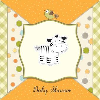 Scheda di carino baby doccia con zebra
