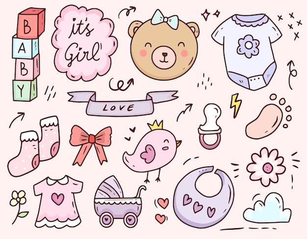Disegno stabilito della raccolta dell'icona di doodle del fumetto della ragazza della doccia di bambino sveglio
