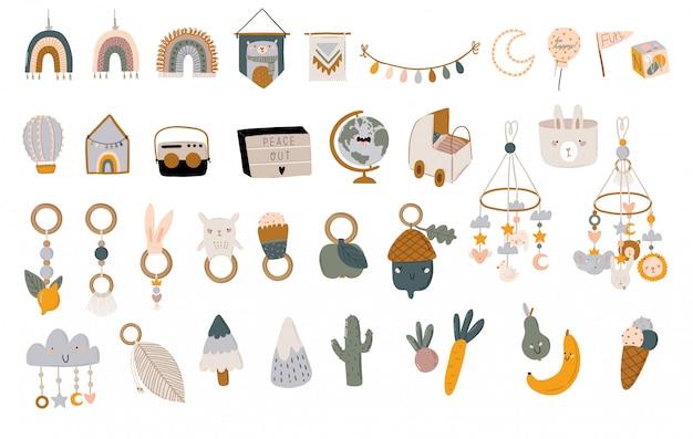 Simpatico baby shower in stile scandinavo con citazioni alla moda e fantastici elementi decorativi disegnati a mano con animali. illustrazione dei bambini di doodle del fumetto per l'arredamento della camera dei bambini, bambini