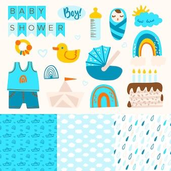 Raccolta di elementi di scrapbook doccia bambino carino
