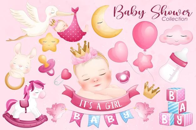 Baby shower carino nella collezione in stile acquerello