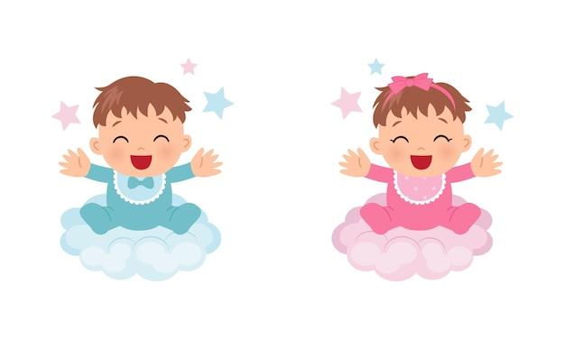 Simpatico bambino seduto sulla nuvola il genere del bambino rivela un ragazzo o una ragazza design piatto vettoriale dei cartoni animati