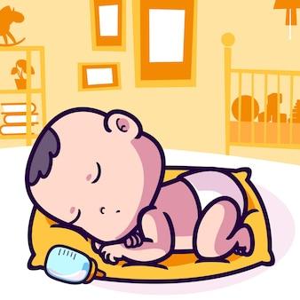 Sonno sveglio del bambino sul fumetto del cuscino