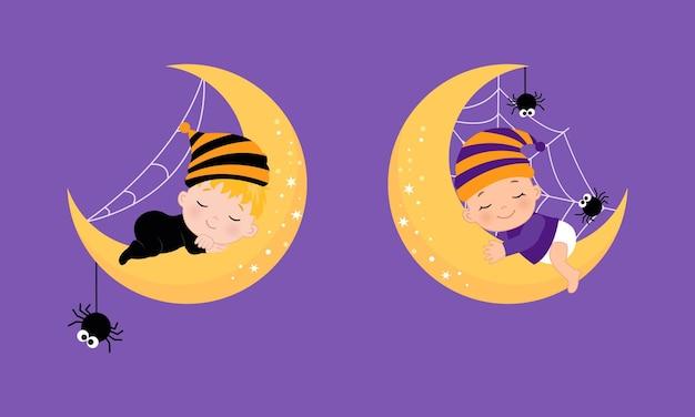 Bambino sveglio che dorme sulla luna nel tema di halloween design piatto vettoriale dei cartoni animati