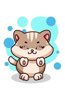 Illustrazione di un piccolo gatto sveglio del bambino