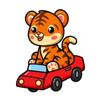 Cartone animato carino tigrotto alla guida di un'auto rossa
