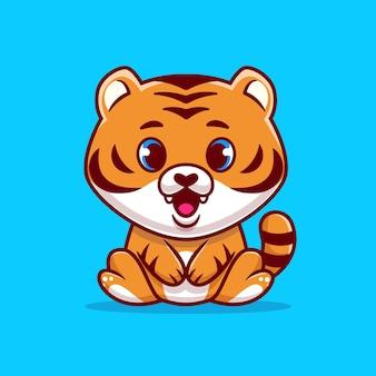 Cute baby tiger seduto fumetto illustrazione