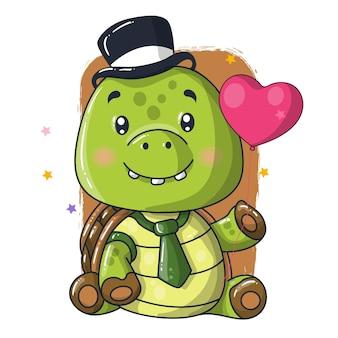 Illustrazione sveglia del fumetto della tartaruga del bambino