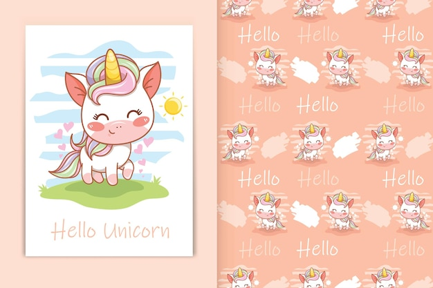 Illustrazione di cartone animato unicorno bambino carino e set di modelli senza soluzione di continuità