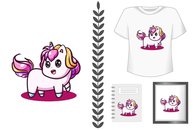 Cute baby unicorn cartoon illustrazione