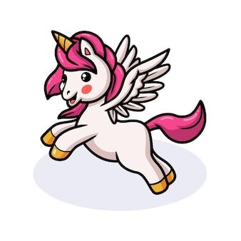 Cartone animato carino unicorno bambino che salta