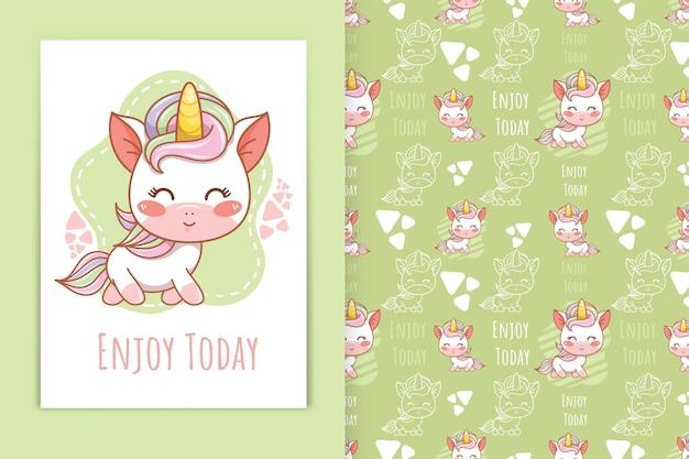 Cute baby unicorno cartone animato stile kawaii e set di modelli senza cuciture
