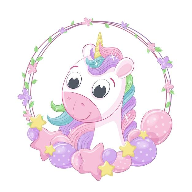 Illustrazione di stile del fumetto di unicorno carino bambino