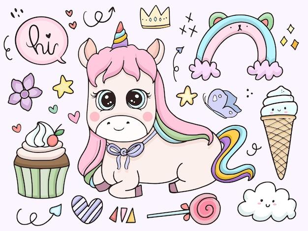 Cartoon carino baby unicorn set di caratteri