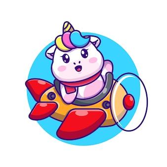 Unicorno sveglio del bambino che guida il fumetto dell'aereo Vettore Premium