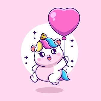 Unicorno sveglio del bambino che vola con il fumetto del pallone